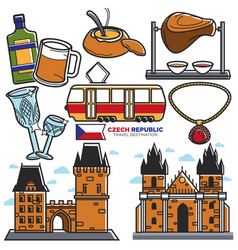 Czech travel landmarks and culture famous vector