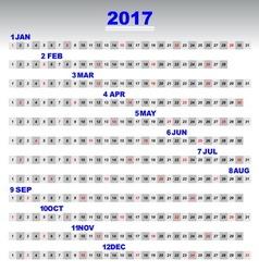 Design 2017 calendar simple template 12 months vector image vector image