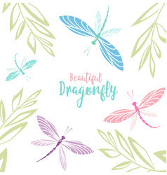 dragonflies in flight vector image vector image