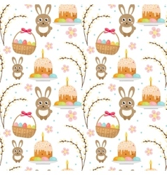 Easter seamless pattern with rabbit egg basket vector