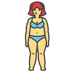 fat woman before diet concept line icon vector image