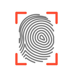 Fingerprint sign isolated on white flat vector