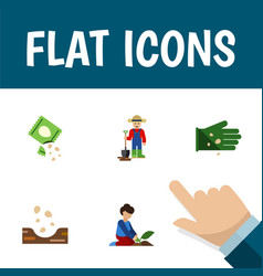 Flat icon plant set of florist seed packet and vector