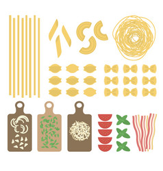 flat italian pasta set vector image vector image