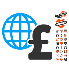 Global pound economics icon with love bonus vector