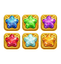 golden amulets with colorful crystal stars vector image vector image