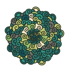 Hand drawn colorful curl Mandala isolated on white vector image vector image