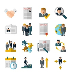 Human resources flat shadow icons set vector image vector image
