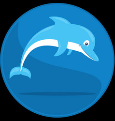 jumping dolphin cartoon underwater vector image vector image