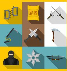 Ninja weapon icon set flat style vector