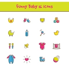 Outline colorful 16 baby icons set in funny vector