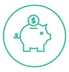 Piggy bank with dollar coin line icon vector