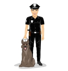Policeman standing with police dog smiling vector