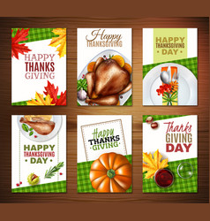 realistic turkey thanksgiving day banner set vector image