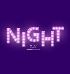 retro sign with lamp night banner vector image