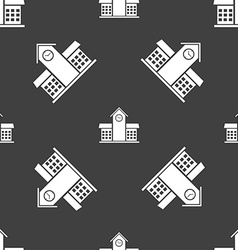 School Professional Icon sign Seamless pattern on vector image