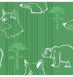 Seamless background with forest animals vector