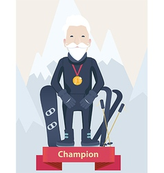 Senior man winter sports champion concept vector image vector image