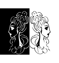 set of girl or woman vector image
