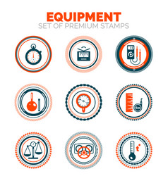 set of measure equipment premium design stamp vector image vector image