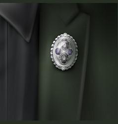 Silver brooch vector