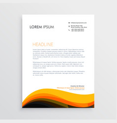 stylish letterhead design with yellow wave design vector image vector image