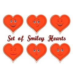 Valentine holiday hearts with faces vector