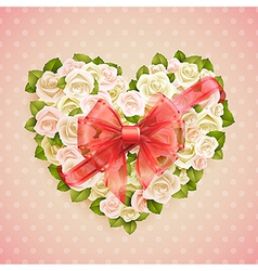 white roses heart vector image vector image