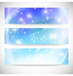 Winter backgrounds set with snowflakes Abstract vector image vector image
