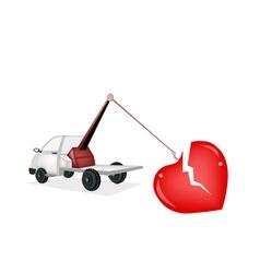 Wrecker tow truck pulling a red broken heart vector