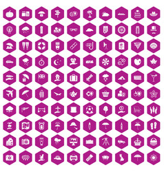 100 umbrella icons hexagon violet vector