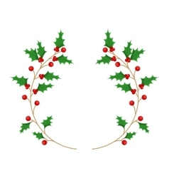 Leafs christmas decoration isolated icon vector