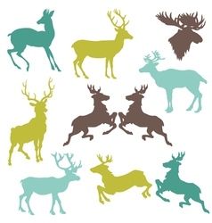 Set of reindeer christmas silhouettes vector