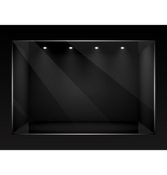 Dark empty show window of shop vector image