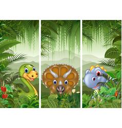 set of three dinosaur background vector image