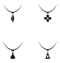 necklace icon set vector image