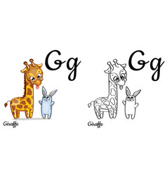 Giraffe alphabet letter g coloring page vector