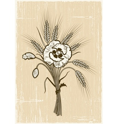 Retro wheat and poppies bouquet vector