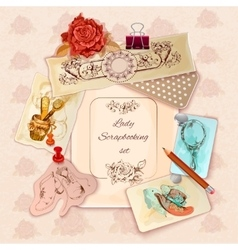Ladies scrapbooking set vector