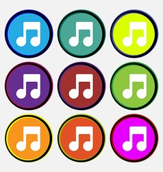 Music note icon sign nine multi-colored round vector