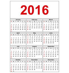 Simple calendar 2016 week starts on sunday vector