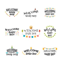 Welcome baby boy baby boy arrival postcards set of vector