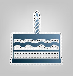 Birthday cake sign blue icon with outline vector