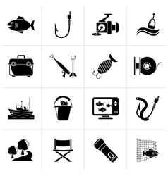 Black fishing industry icons vector