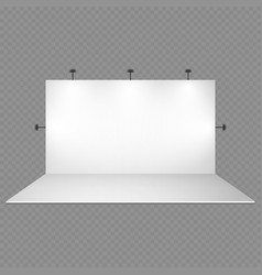 Blank white trade show booth with lighting vector