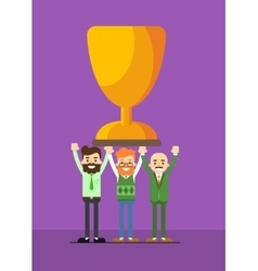 Business people with winner trophy vector image vector image