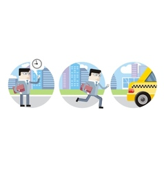 Businessman in suit late for work and catch taxi vector