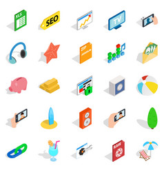 Camera phone icons set isometric style vector