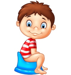 Cartoon boy sitting on the potty vector