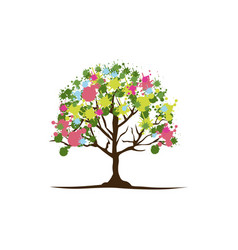 Color trees with some leaves and flowers icon vector